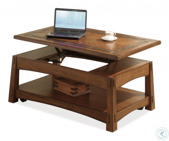 Craftsman Home Americana Oak Lift Top Cocktail Table