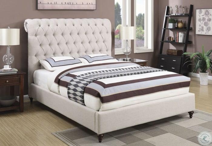 Devon Beige Queen Panel Upholstered Bed
