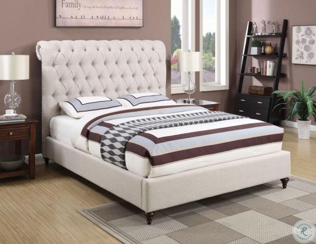 Devon Beige Upholstered King Panel Bed