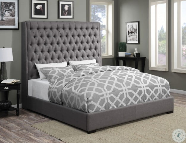 Camille Grey Upholstered King Panel Bed