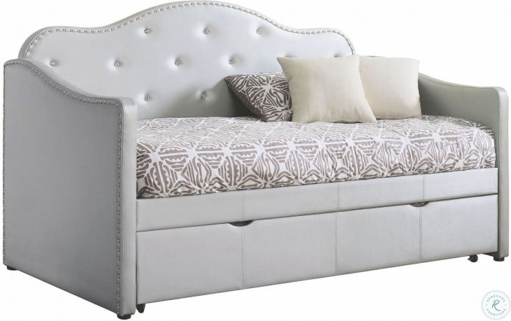 Elmore Light Grey Upholstered Twin Daybed With Trundle