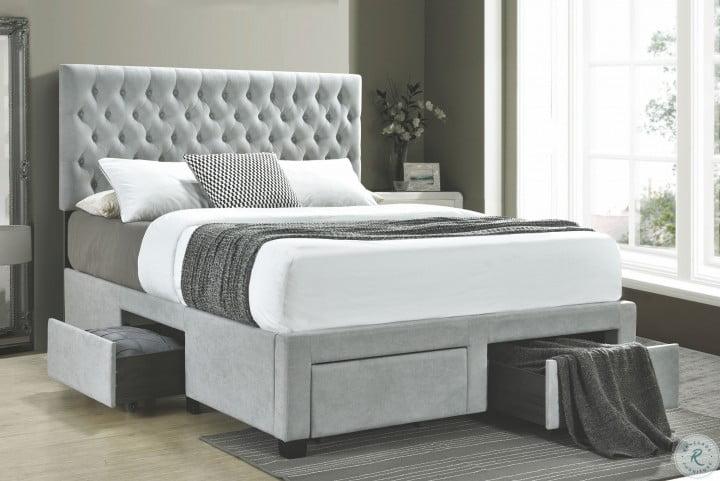 Soledad Light Gray Upholstered King Storage Platform Bed