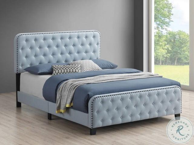 Littleton Delft Blue Full Upholstered Panel Bed