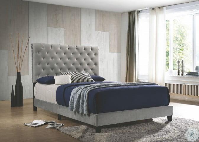 Warner Gray Velvet Upholstered King Panel Bed