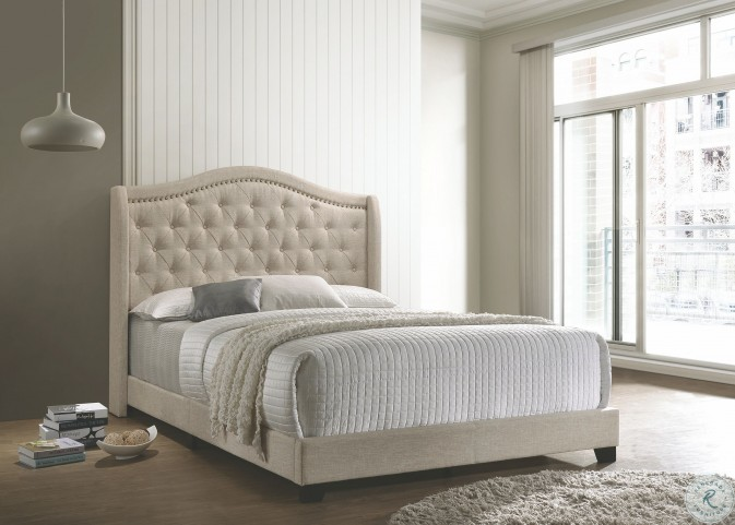 Sonoma Beige Upholstered King Panel Bed