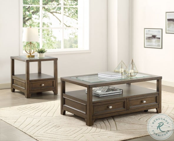 Auburn Brown Cherry Glass Top Cocktail Table With Casters