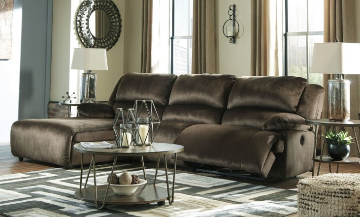 Clonmel Chocolate Press Back Chaise LAF Reclining Sectional