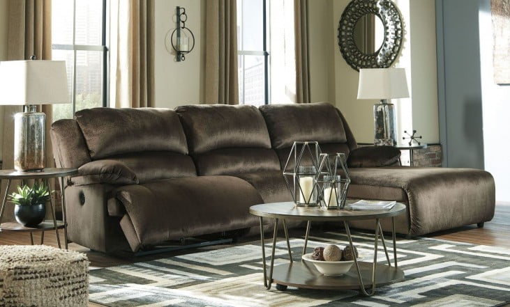 Clonmel Chocolate Press Back Chaise RAF Reclining Sectional