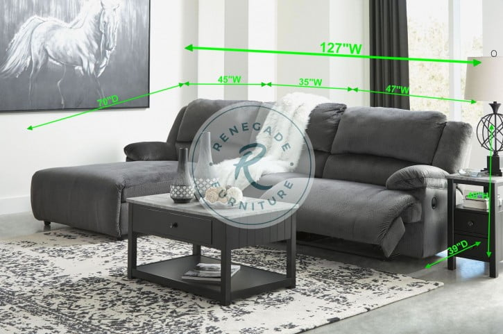 Clonmel Charcoal Small Power Reclining LAF Sectional