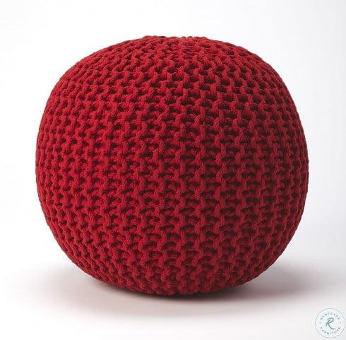 Pincushion Red Woven Pouffe
