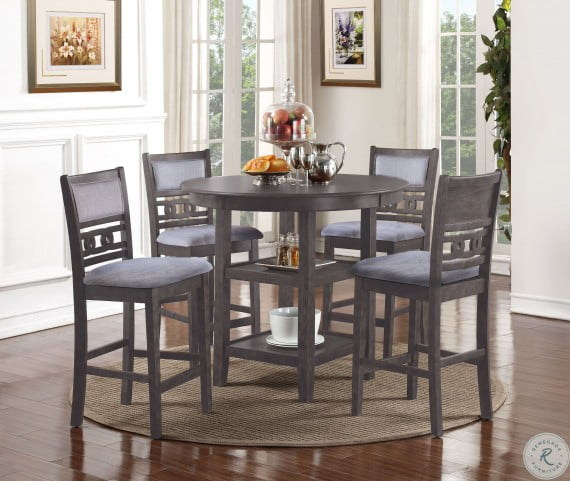 Gia Gray 5 Piece Round Counter Height Dining Room Set