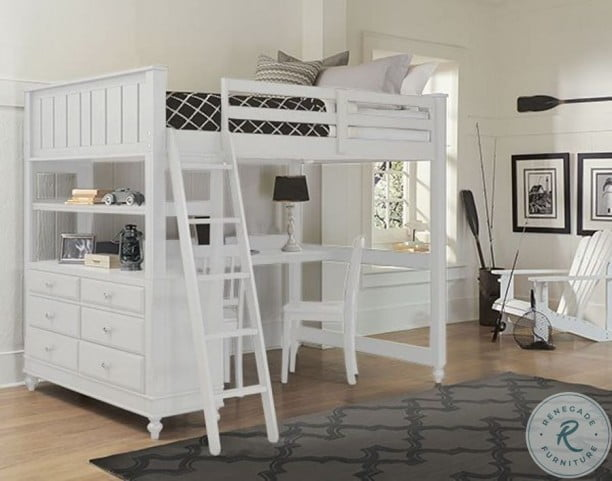 Lake House White Youth Loft Bedroom Set with Desk