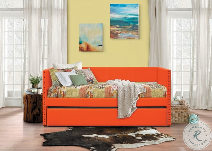 Therese Orange Twin Daybed with Trundle