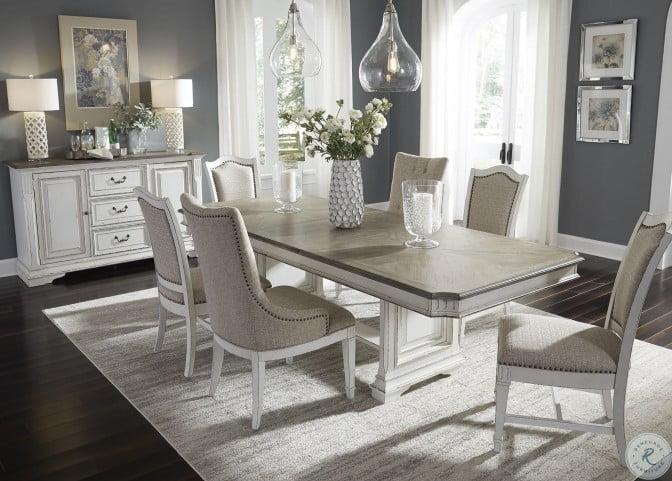 Abbey Park Antique White Trestle Extendable Dining Room Set