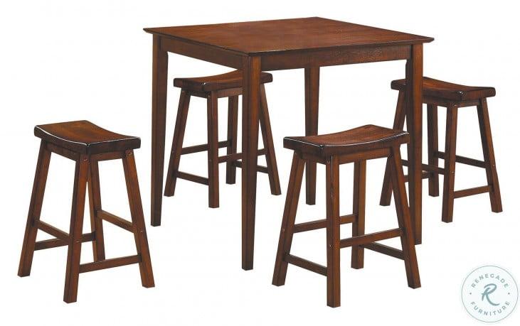 Saddleback Cherry 5 Piece Counter Height Dining Set