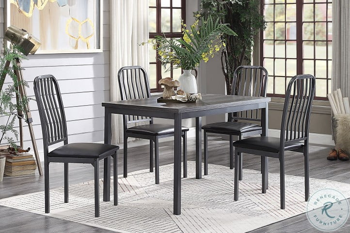 Tripp Gray And Silver Metal Dining Room Set