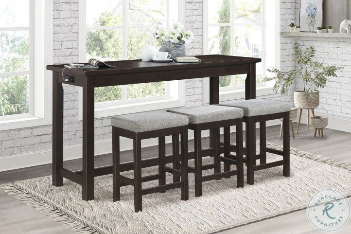 Connected Espresso 4 Piece Pack Counter Height Set