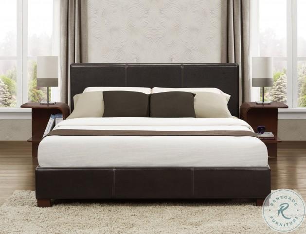 Zoey Dark Brown King Upholstered Platform Bed