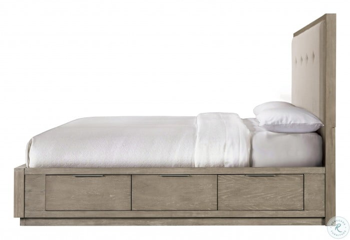 Zoey Urban Gray Queen Upholstered Panel Storage Bed