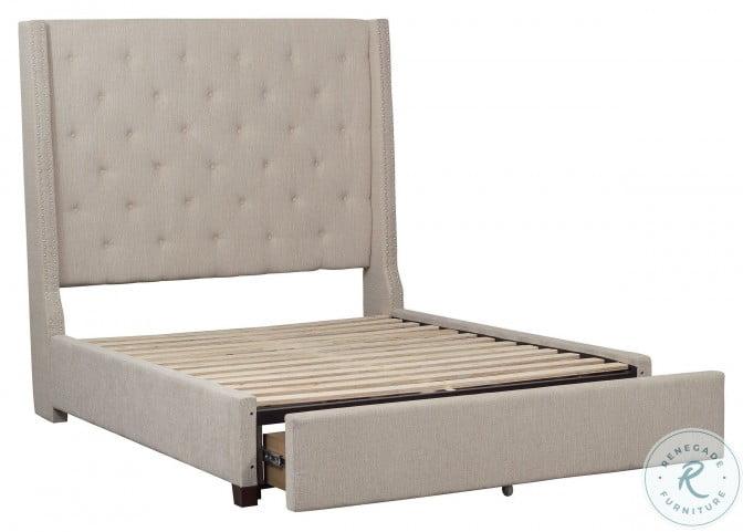 Fairborn Beige Full Upholstered Platform Storage Bed
