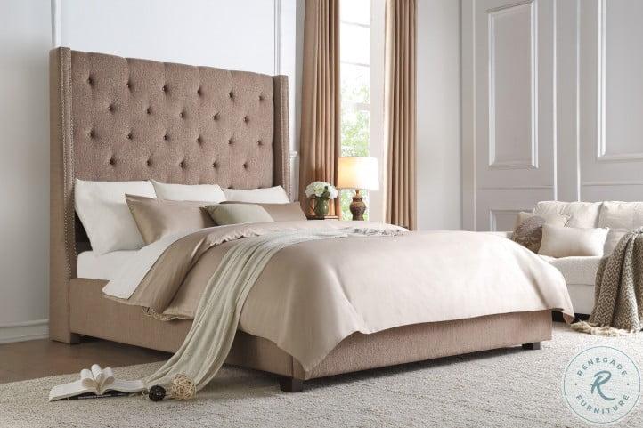 Fairborn Brown Cal. King Upholstered Platform Bed