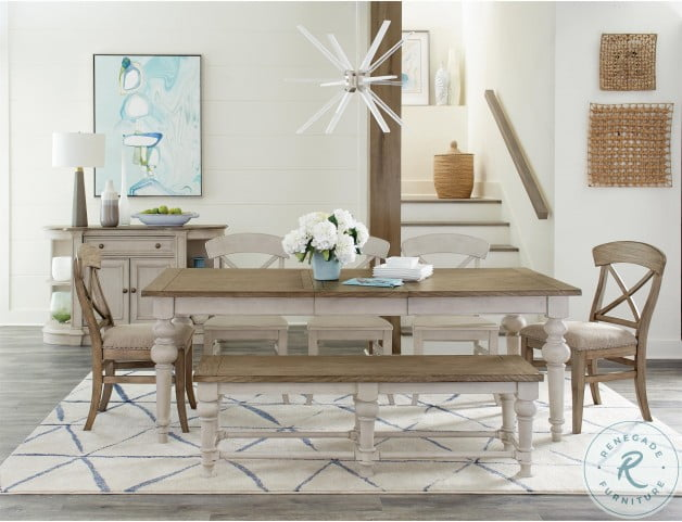 Southport Antique Oak And Smokey White Dining Bench