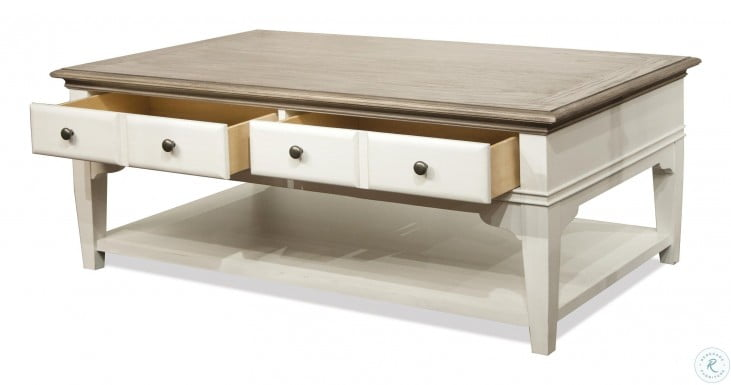 Myra Natural And Paperwhite Leg Cocktail Table