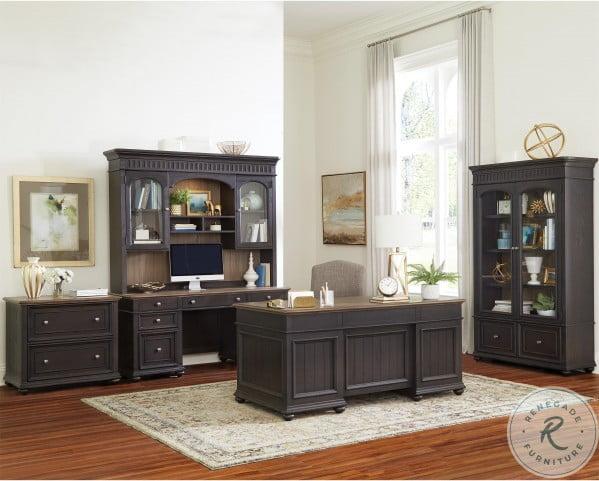 Regency Antique Oak And Matte Black Lateral File Cabinet