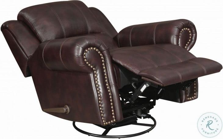 Sir Rawlinson Dark Brown Leather Swivel Rocker Recliner