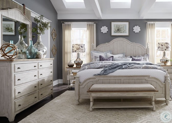 Farmhouse Reimagined Antique White King Poster Bed