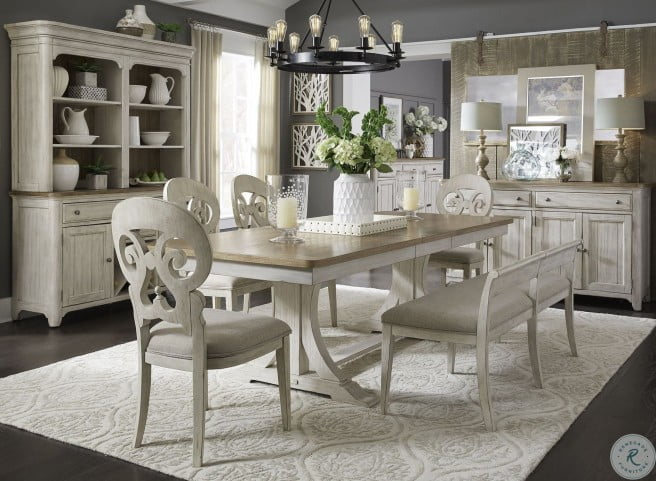 Farmhouse Reimagined Antique White Extendable Trestle Dining Room Set