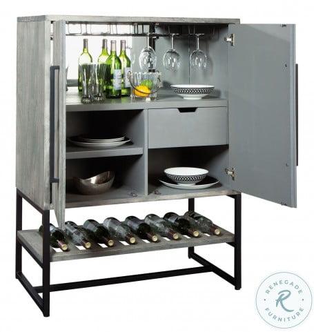 Jamaica Weathered Grey Wine And Bar Cabinet
