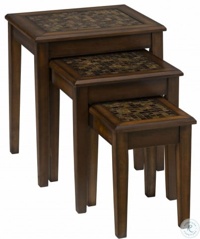 Baroque Brown Mosaic Tile Inlay Nesting Table