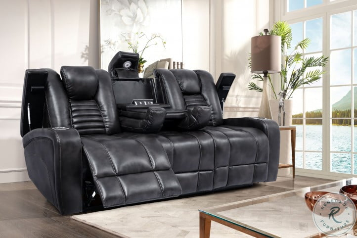 Harley Slate Dual Power Reclining Sofa with Power Headrest and Drop Down Table