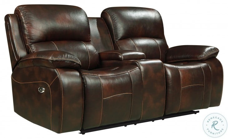 Mahala Dark Brown Leather Power Double Reclining Console Loveseat