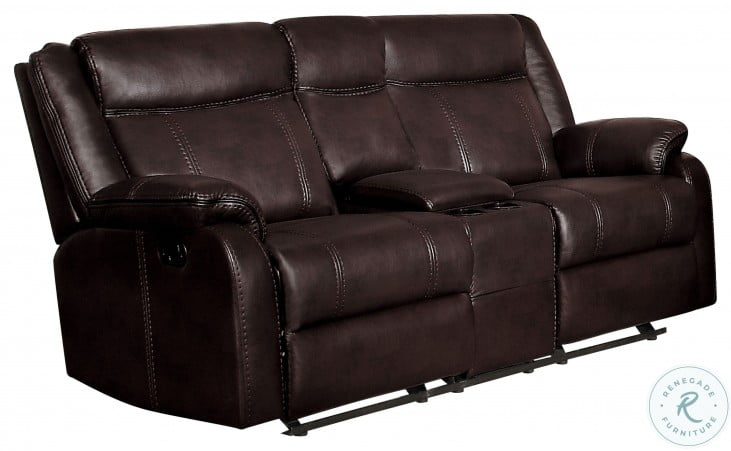 Jude Brown Double Glider Reclining Console Loveseat