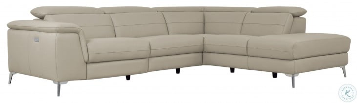Cinque Taupe Leather Power Reclining RAF Sectional