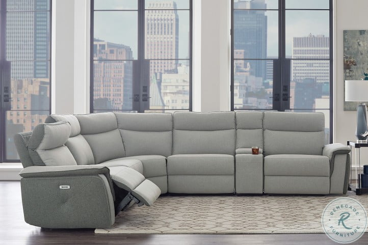 Maroni Gray Power Reclining With Power Headrest LAF Sectional