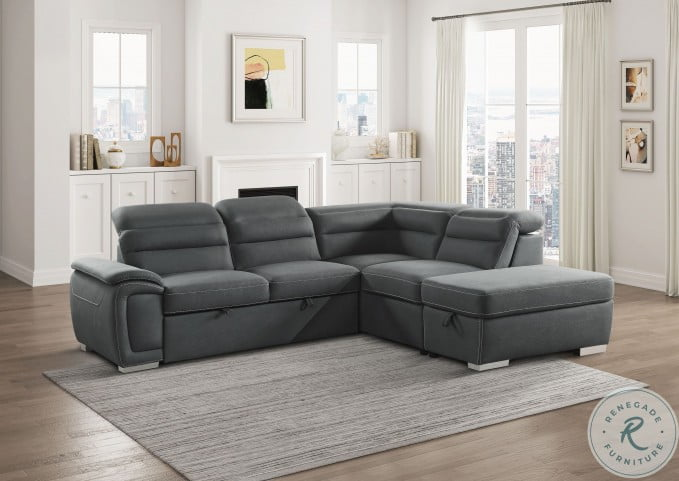Platina Gray 3 Piece Pull Out Bed RAF Sectional With Storage Ottoman And Adjustable Headrests