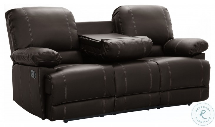 Cassville Dark Brown Double Reclining Sofa With Center Drop-Down