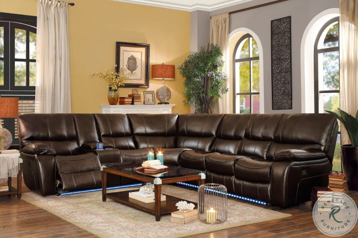 Pecos Brown Armless Power Reclining Sectional