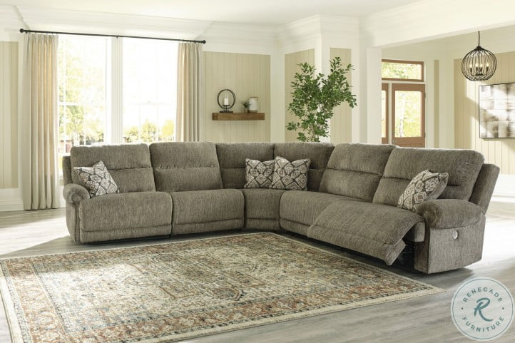 Lubec Taupe Power Reclining Sectional