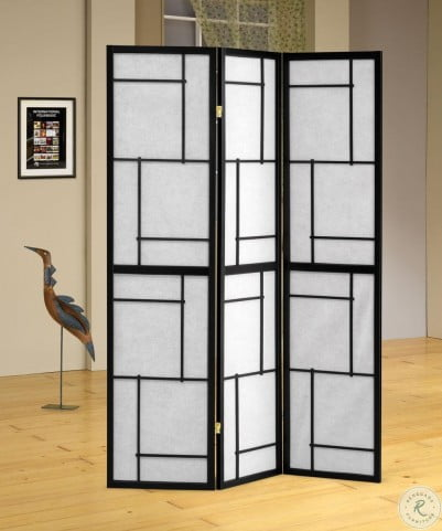 900102 Black 3 Panel Folding Screen