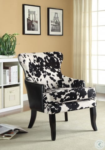 902169 Black and White Cow Pattern Accent Chair