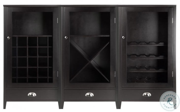 Bordeaux Espresso Modular Glass Door Wine Cabinet