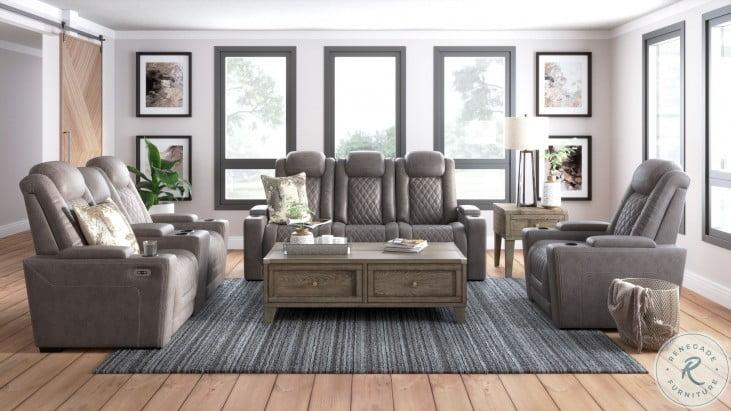 HyllMont Gray Power Reclining Living Room Set
