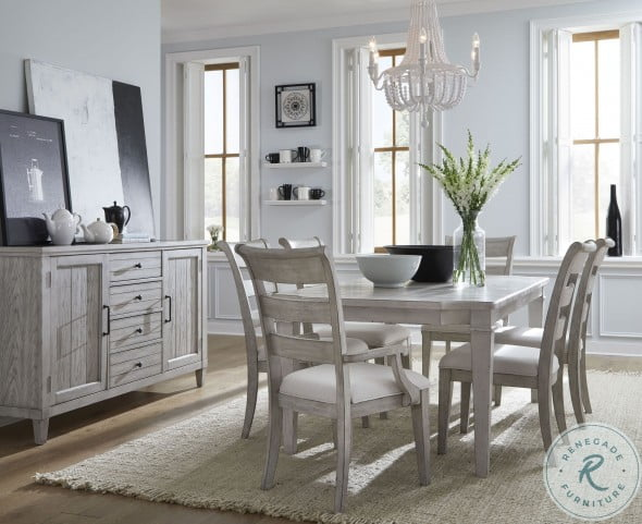 Belhaven Weathered Plank Extandable Rectangle Leg Dining Room Set