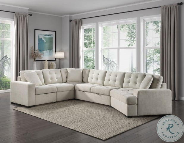 Logansport Beige LAF Sectional With Pull Out Ottoman