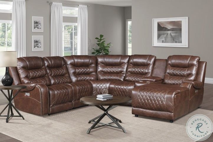 Putnam Brown 6 Piece Modular Power Reclining Sectional With RAF Chaise