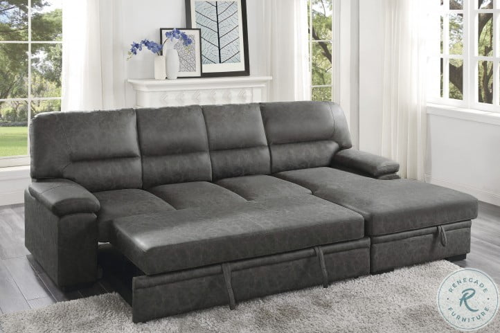 Michigan Dark Gray RAF 2 Piece Sectional With Pull Out Bed